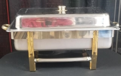 Rental store for STAINLESS   GOLD RECTANGULAR CHAFER 7 QT in Johnson City TN