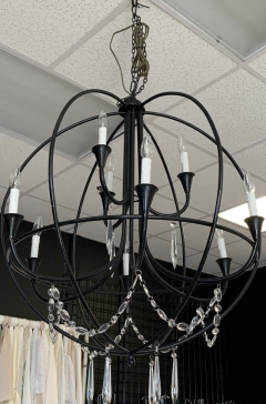Rental store for BLACK ROUND CHANDELIER W  HANGING CRYSTA in Johnson City TN