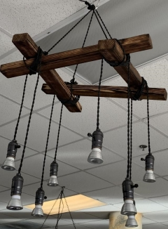Rental store for SQUARE WOOD CHANDELIER W  HANGING LIGHT in Johnson City TN