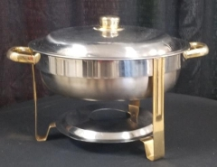 Rental store for STAINLESS   GOLD ROUND CHAFING DISH  4QT in Johnson City TN